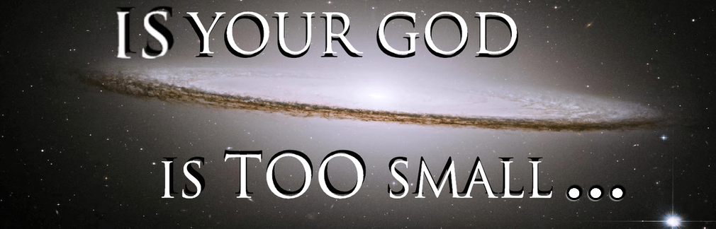 text Is Your God Too Small... with space background