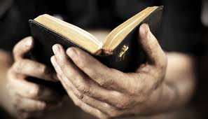 holding a bible in hands